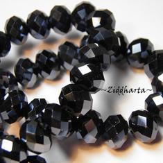 1st Facetterad glaspärla: Lyx kristall - Dark Hematite 10x8mm
