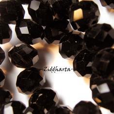Lyx kristall - Kristall-pärla - Jet Black Svart 10x8mm Rondell