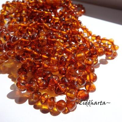 Rundad Semi-rund Bärnsten /Amber: 10st pärlor - Cognac - Grade A - ca 6mm