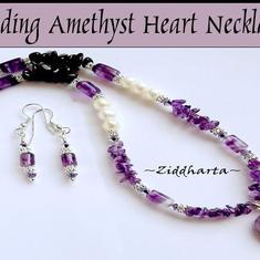 #DIY Videos Smyckestillverkning:  Ametisthjärta - Amethyst Heart Pendant - Beading Jewellery Necklace Design