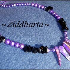L3:85 Fantasy: Halsband och örhängen - Lila & lavendel Mother of Pearl, Svart Onyx, Swarovski kristaller - Necklace & Earrings!