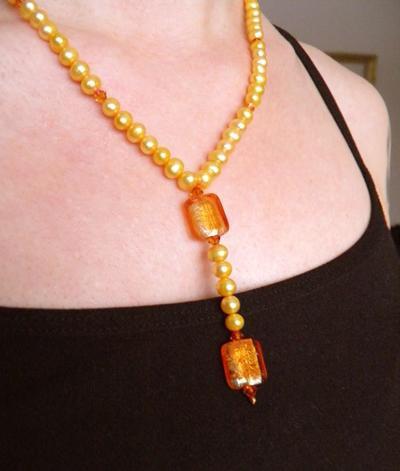 L1:09nn Mandarin, apelsin & Astral Pink - vackert halsband med massor av sötvattenspärlor & Swarovski Crystals