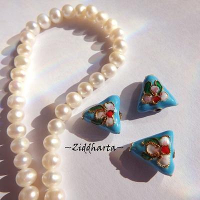 1 Cloisonné pärla: Platt Triangel Turquoise Turkos #56