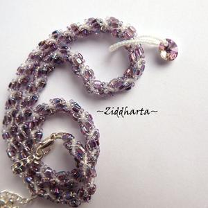 "L1:38nn Two necklaces in One ""Swarovski Violet Vitrail"" Necklace Swirl Spiral Necklace Lilac Lavendel Necklace - Handmade Jewelry by Ziddharta"
