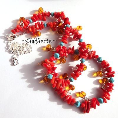OOAK Unique Amber RAV Bernstein Red Coral Necklace Swarovski Crystals Turquoise Necklace- Handmade by Jewelry artist Ziddharta of Sweden