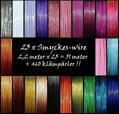 24 olika färger = ca 53m Smyckeswire / vajer + ca 480 klämpärlor - LOT fyndpaket
