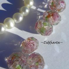 Exklusiv Handgjord LampWork glaspärla: Facetterad Rondell Rosor & guldsand - PINK #16