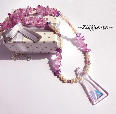 L3:80 Dichroic Triangle SIGN Glassfused Pendant Necklace - Unique Pink Magenta Necklace Freshwaterpearls Swarovski Crystals ROSE - by Ziddharta