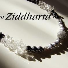L3:86nn SilverEye: Silverfärgade sötvattenspärlor Bergkristall halsband / Necklace