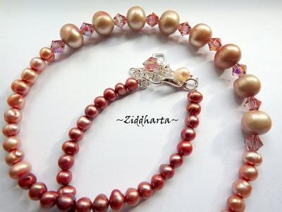 L3:95 Set PEACHY Queen: Halsband, örhängen & armband - handgjort av Ziddharta i Sverige - Fint till solbränd hud, till bröllop, student och på stranden!