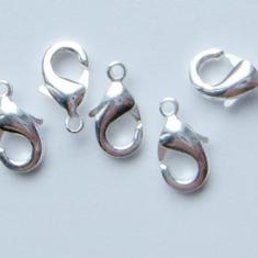 50st 12mm SP KARBINLÅS: Silverpläterade smyckes lås  STORPACK. Wholesale: LOT 30%  RABATT!