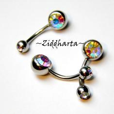 1 Piercing-smycke: Double Jeweled Navel - Crystal AB