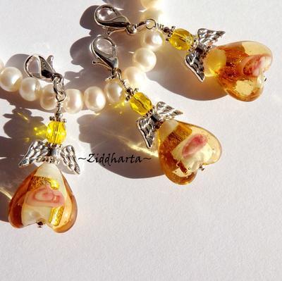1st Ängla-hänge / berlock: GF GOLD / Amber GULD GoldFoil Lampwork - hänge tillverkat för hand