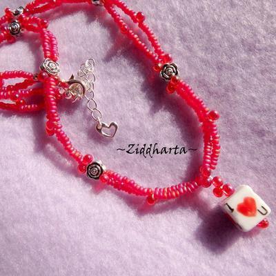 """L2:72nn RED 2-strands Necklace Halsband: I Love U dice - RÖTT """"Jag älskar dig"""" Tärning av Handgjord Lampwork"""