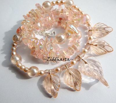 L3:94 Peach Glass LEAFS: Smycken för bröllop, fest & vardagsfint!