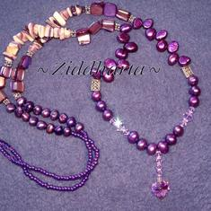 L5:161 - Tanzanite SW Heart- Purpur Lila Violetta  Lavendel Sötvattenspärlor Swarovski Crystals MOP Mother of Pearls Purpur Glaspärlor: Necklace / Halsband - handmade by Ziddharta