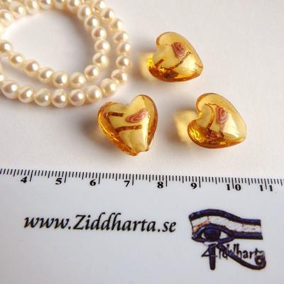 1st LampWork GoldFoil Stripe: 17mm Hjärta GOLD