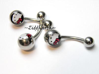 1 Piercing-smycke: Navel Barbell - Hello Kitty!
