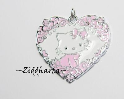 30x34mm Hello Kitty: Superläckert Emaljerat hänge ROSA