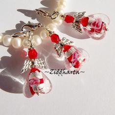 1st Ängla-hänge Smyckes pyssel KIT: SF RED SilverFoil Heart - LampWork Hjärta & hjärtelås