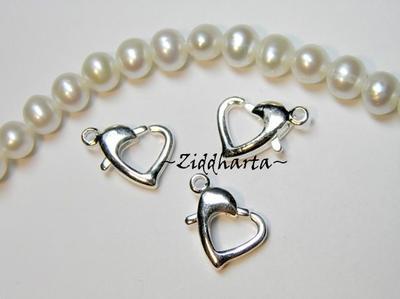 1st KIT: SF AQUA SilverFoil 15mm Heart: Ängla-hänge Smyckes pyssel  - LampWork Hjärta & hjärtelås - materialpaket