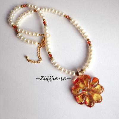 L1:24 Set OOAK Necklace Earrings LampWork Necklace Red Gold Flower Necklace Freshwater Pearls & Swarovski Necklace - Handmade Jewelry by Ziddharta