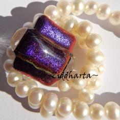 69 Dichroic Cabochon ca25x18mm: Lilac Focus