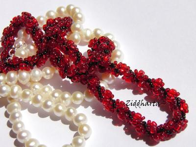 L1:21 Love Red Sewn Spiral Rope Necklace - Red Black Necklace Sewn Seed Bead Necklace Love Red DNA-spiral Necklace - Handmade Jewelry by Ziddharta
