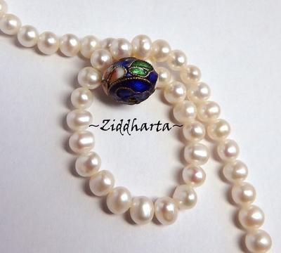 1 Cloisonné pärla: BLÅ Rondell till hänge #31