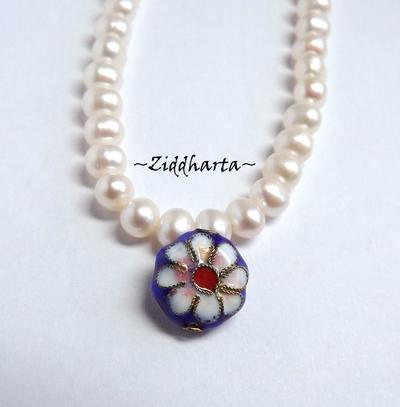 1 Cloisonné pärla: BLÅ Blomma till hänge #24