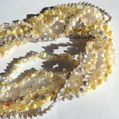 L4:131 - CITRINE Multi-strands - Gemstone Necklace and earrings: White & Lavendel FreshwaterPearls 7-strands OOAK