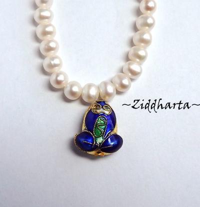 1 Cloisonné pärla: BLÅ Groda / Frog till hänge #23