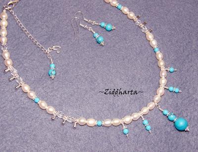 L3:81 Turkos Fringes SET:  Halsband & örhängen  Necklace & Earrings - Turquoise Fringes handmade by Ziddis