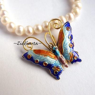 1 Cloisonné pärla: Turkos BLÅ Fjäril till hänge #15