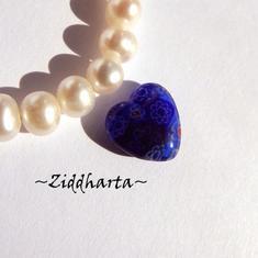 Millefiori glaspärla: Hänge - Cobolt Blått Hjärta - Halvborrad #64