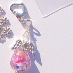 1st KIT: PinkBlue / Rosa Blått 12mm Heart / hjärta: Ängla-hänge Smyckes pyssel  - LampWork Hjärtan & hjärtelås