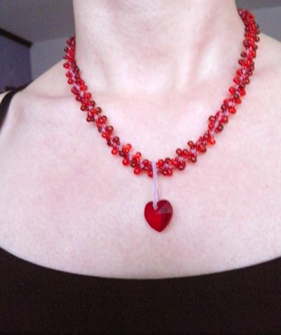 "L1:36 Two necklaces in One: ""Love Red Swarovski Heart"" Necklace Swirl Spiral White cord Swarovski Heart Necklace - Handmade Jewelry by Ziddharta"