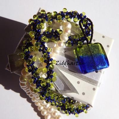 L4:127 Peridot COBALT Rectangular: SilverFoil LampWork Pendant Helix DNA-rope Necklace / Halsband - Handmade by Ziddharta