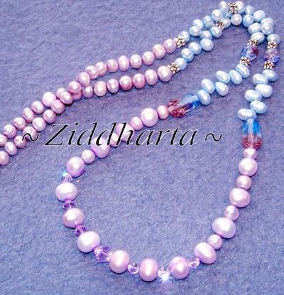 L3:82 Turkos Lavendel Halsband med Tulpaner - Unikt och personligt smycke handgjort av Ziddharta i Sverige