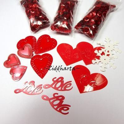 Paljett mix Valentine LOVE: Kärlek Rött Pyssel Dekoration Scrapbooking Smycken