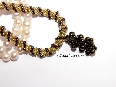 """L2:41 SÅLD! BronzeGolden Necklace Spiral Rope w beaded """"Grape"""" Pendant - Handmade beaded Jewelry and Beading by Ziddharta"""