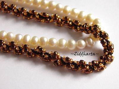 L4:132 - SteamPunk Bronze Copper - Miyuki & Jablonex Seed Beads Steam Punk Helix DNA-sträng Swirl Halsband Handsytt Beaded Necklaces Rope by Ziddharta