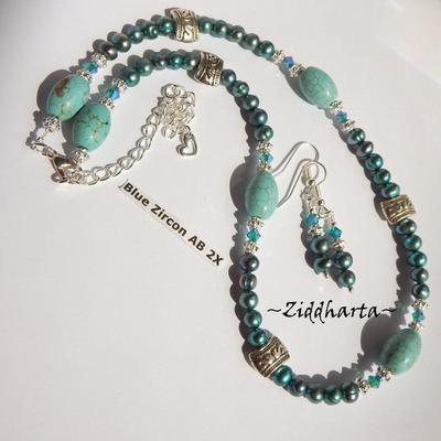 L4:128 - TEAL Turquoise SET - Teal Freshwaterpearls Swarovski Crystals Blue Zircon AB2x - Handmade Necklace & Earrings / Halsband & Örhängen - by Ziddharta