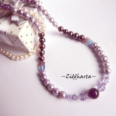 L5:153nn RARE -  Alexandrite - Lavendel Lilac Violet Freshwater Pearls Swarovski Crystals Purple Necklace Amethyst Gem Stone Bead - Necklace made by Ziddharta