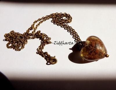 L4:135nn KEDJA - Bronze Heart GS - SteamPunk Chain Necklaces / Halsband: LampWork GoldSand HEART Hjärta - hänge Berlock / Pendant