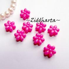 20st NEON Rosa FLOWER Opaka Pärlor Dubbelsidig Plast- pärla med genomgående hål