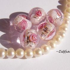 LampWork Runda 10-12mm - Rosa SF-stripes