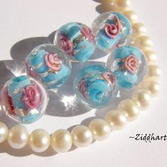LampWork Runda 10-12mm - Turkos SF-stripes