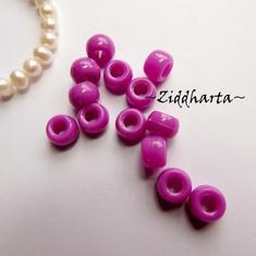 20st Lila Opaka PONY pärla 9x6mm - Drum Beads XL: PlastPärlor med stora hål