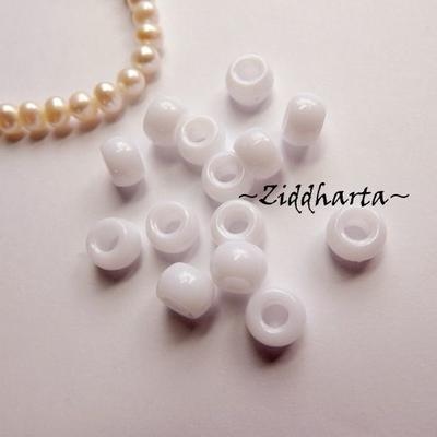 20st Vit Opaka PONY pärla 9x6mm - Drum Beads XL: PlastPärlor med stora hål